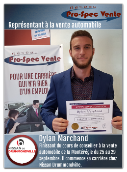 dylan marchand commence sa carri re chez nissan de drummondville. Black Bedroom Furniture Sets. Home Design Ideas