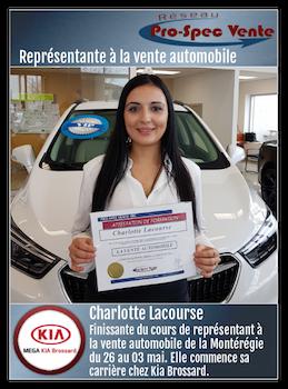 Mega Kia Brossard >> Charlotte Lacourse Debute Sa Carriere Chez Kia Brossard Pro Spec Vente