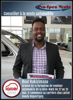 Real Hakizimana - Conseiller à la vente automobile chez Lallier Honda Repentigny